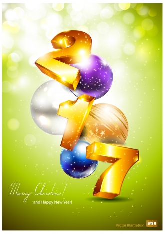 2017 3d golden happy new year and merry christmas