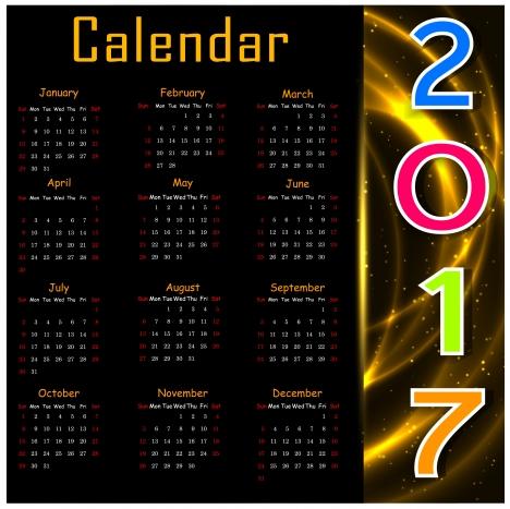 2017 calendar design on black background