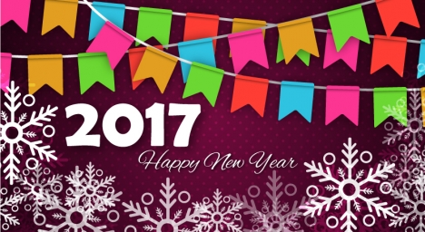 2017 new year banner with snowflakes illustration