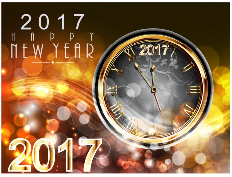 Happy new year 2017 vectors stock for free download about 29 2017 new year card design with classical clock m4hsunfo