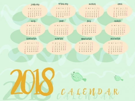 2018 calendar background marine fishes decoration