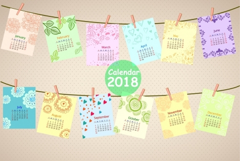 2018 calendar design clip hanging paper icons decoration