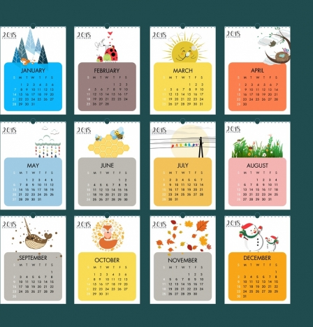 2018 calendar design elements natural wild life icons