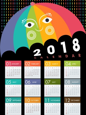 2018 calendar design stylized colorful umbrella icon
