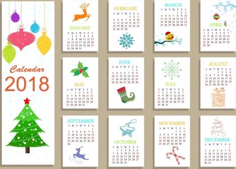 2018 calendar template christmas icons decoration