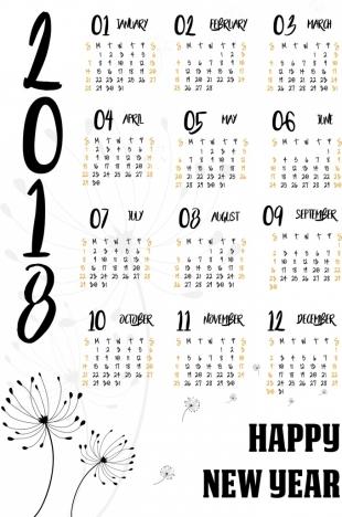 2018 calendar template dandelion icon decoration