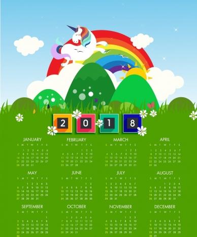 2018 calendar template green decor rainbow horse icons