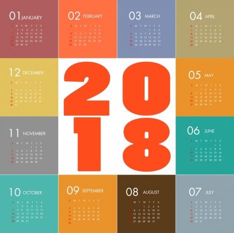 2018 calendar template modern colorful flat design