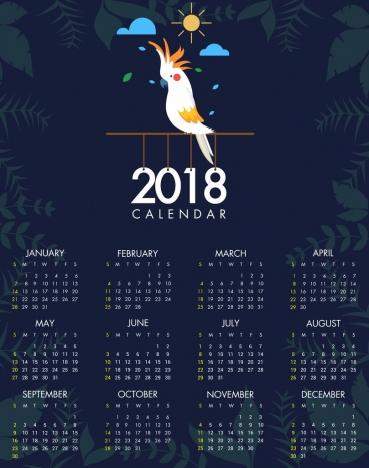 2018 calendar template parrot icon plants vignette decoration