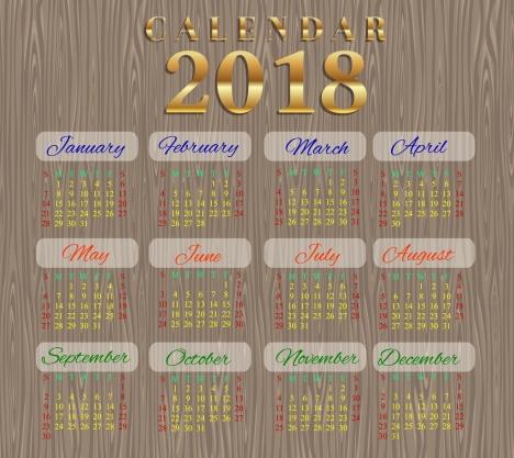 2018 calendar template wooden background design