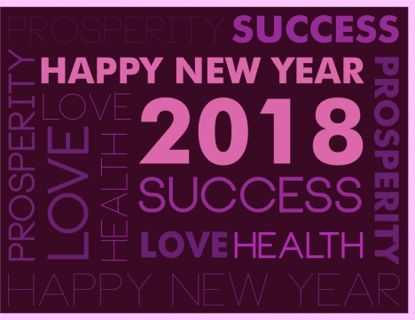 2018 new year background violet greeting texts decoration