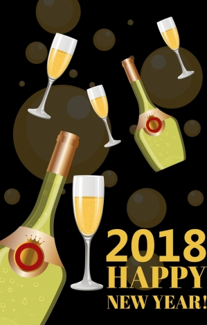 2018 new year banner champagne bottle glass icons