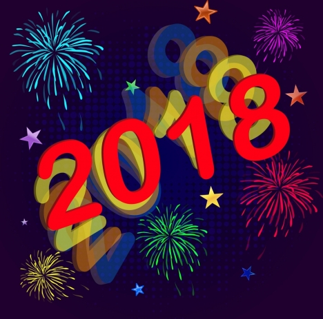 2018 new year banner colorful fireworks numbers decoration