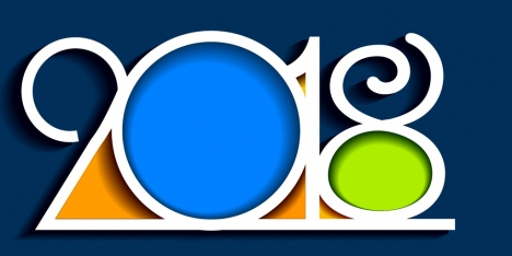 2018 new year logo flat colored numbering decoration