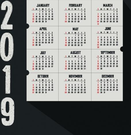 2019 calendar background dark retro grunge design
