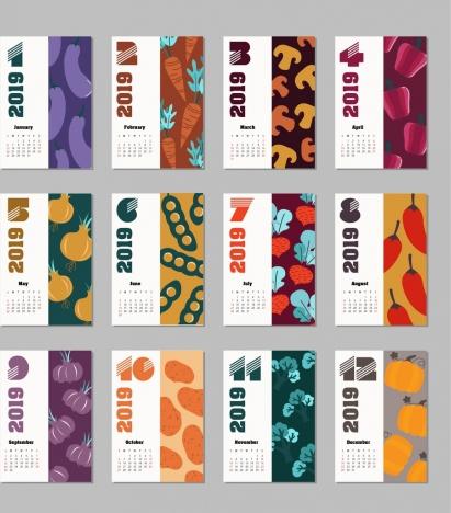 2019 calendar background sets vegetables theme multicolored decor