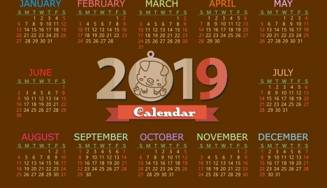 2019 calendar template brown design pig icon