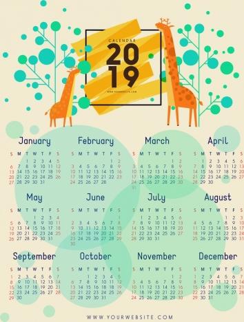 2019 calendar template giraffe tree icons circles decor
