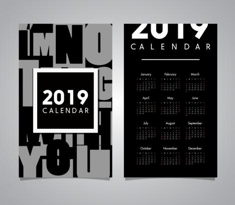 2019 calendar template modern black white design