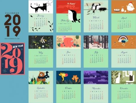 2019 calendar template nature theme rectangular isolation