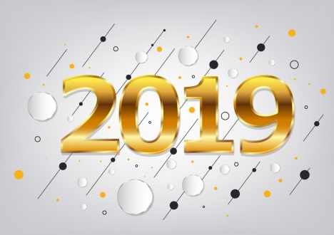 2019 new year background yellow number circles decor