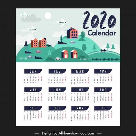 2020 calendar template countryside landscape theme classical design