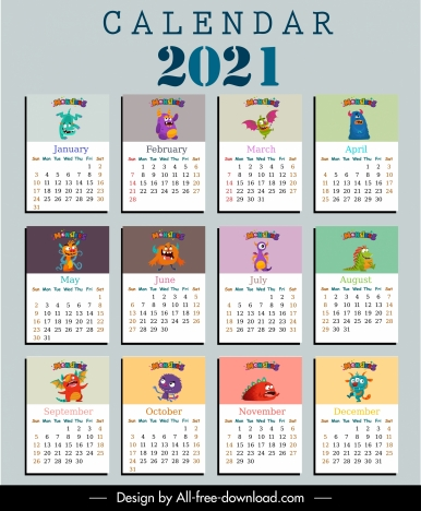 2021 calendar template funny monster characters sketch ...
