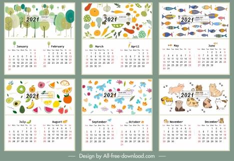 2021 calendar template nature vegetables animals themes