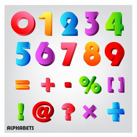 3D alphabet number colorful vectors stock in format for free