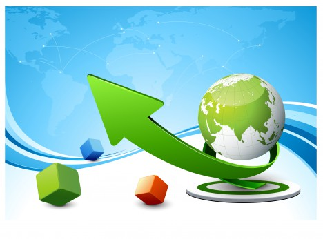 3d business background with globe arrow and box