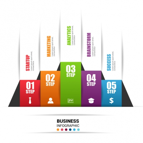3d business infographic vector illustration with vertical tabs