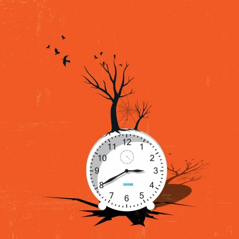 3d clock background dried trees decoration