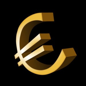 3d gold euro symbol