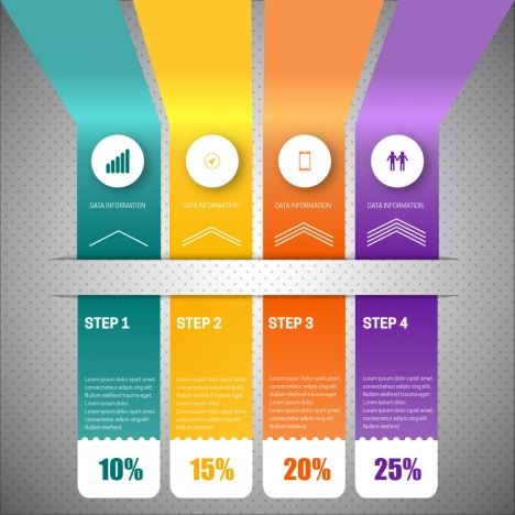 3d infographic vector with vertical colorful tabs