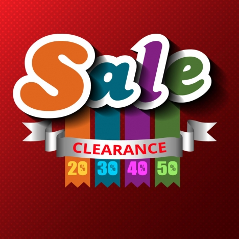 3d sale clearance banner with ribbon and numbers