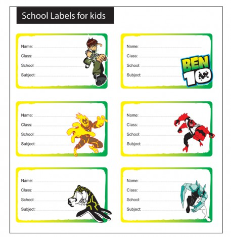 (6) ben 10 school labels for kids