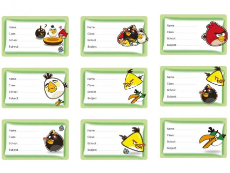 9 Angry Birds School Labels for kids books