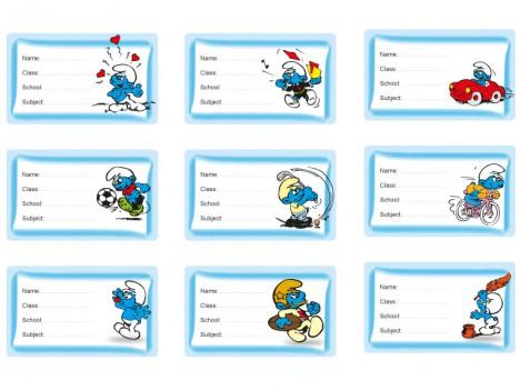 9 smurfs School Labels for kids books