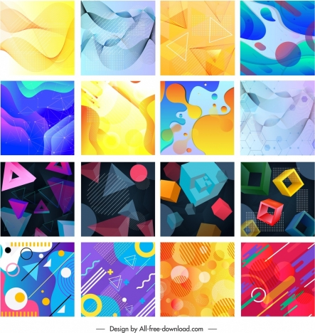 Abstract background collection colorful dynamic flat 3d