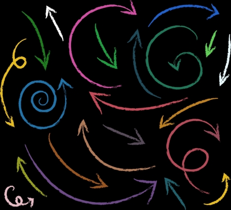 abstract background colorful handdrawn curved arrows decoration