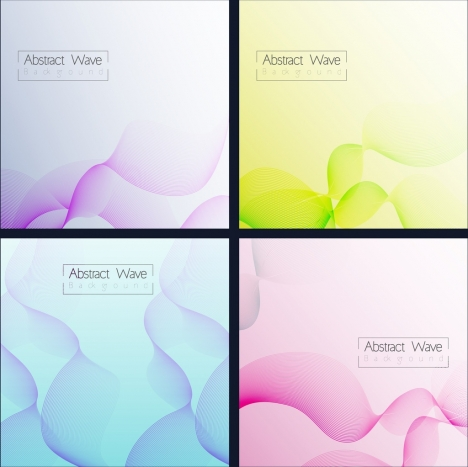 abstract background sets multicolored curved wavy lines