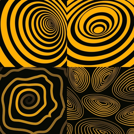 abstract background sets spiral lines yellow black design