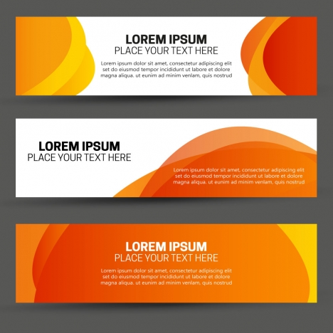 abstract banners design on orange background