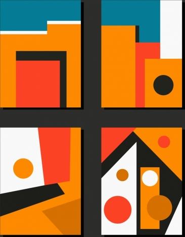 abstract paintings orange theme colorful geometric decor