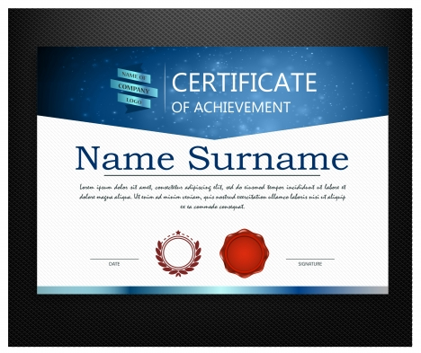 achievement certificate design with modern style