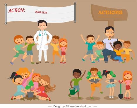 action backgrounds joyful children cartoon characters sketch