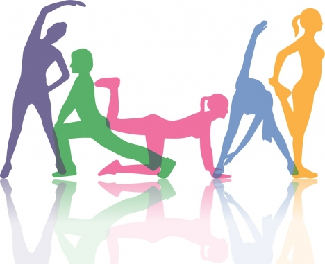 active human background excercise gestures colorful silhouette icons