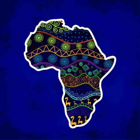 africa map icon tribal pattern decoration