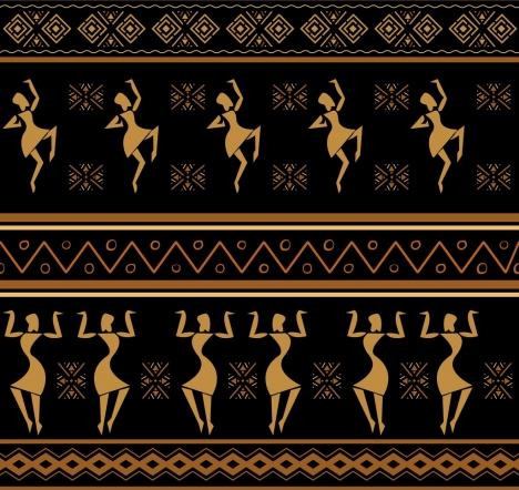 africa pattern human dancing decor classical symmetric design