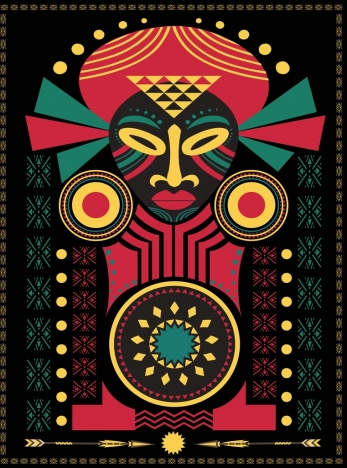 africa symbol drawing tribal human icon dark multicolor